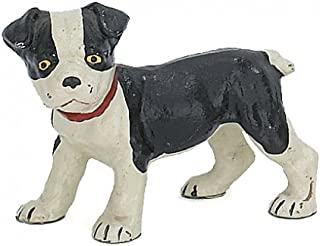 Home Collection Boston Terrier Pup Dog Sculpture Figure, Hand Painted Cast Iron, 6-inch, Paperweight, Door Stop