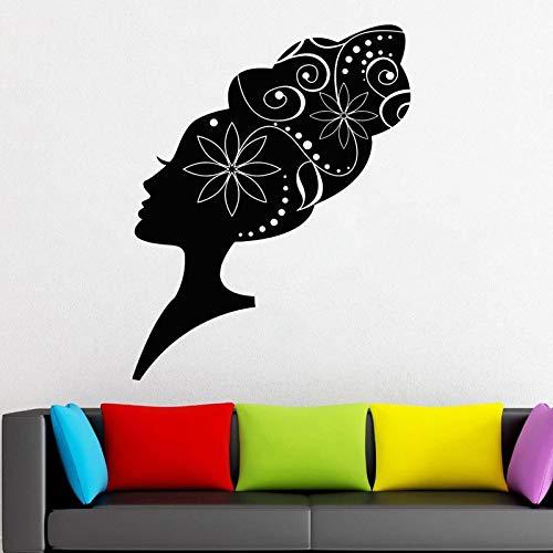 sanzangtang Afrikanische volksfrisur wandtattoo Muster mädchen Frau Vinyl Aufkleber hauptdekoration Idee Raum innenwandkunst friseursalon 75,6x97,2 cm