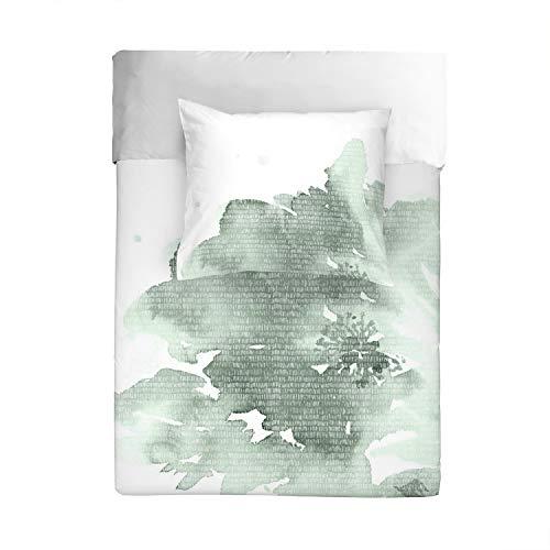 Walra Wendebettwäsche Green Blossom 1 Bettbezug 135 x 200 cm + 1 Kissenbezug 80 x 80 cm
