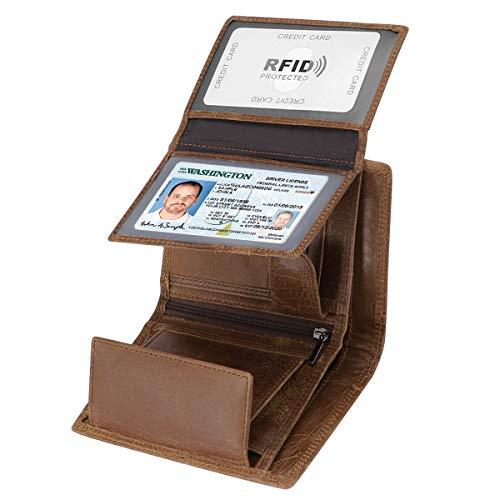 HAWEE Trifold Billfold Geldbörse aus Rindsleder, RFID-blockierend, für Herren, 10 Kartenfächer, 2 Ausweis-Fenster, mit Münzfach, Braun