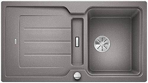 BLANCO Classic Neo 5 S, Küchenspüle aus Silgranit PuraDur, reversibel, Alu metallic / mit InFino-Ablaufsystem, inkl. SmartCut-Schneidbrett und Ablauffernbedienung; 524017