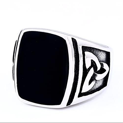 VKING Store - Punk Titanium Steel Ring for Men Jewelry Flat Black Stone Valknut Signet Ring Odin Symbol Norse Viking Biker Ring (13)