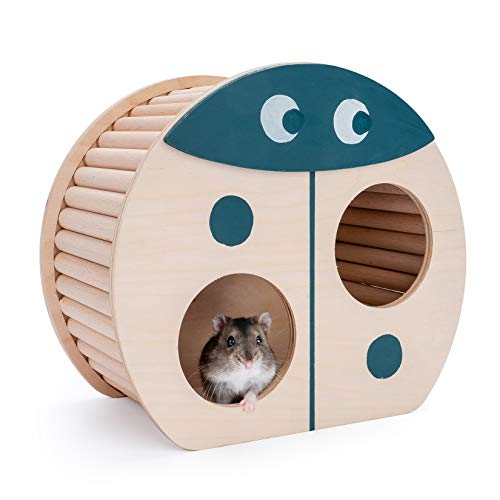 Niteangel Hamster House w/Climbing Ladder: for Dwarf Hamsters Gerbils Mice or Similar-Sized Pets (Ladybug-Shaped)