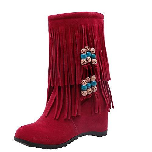 Yowablo Stiefel Damen Mode Wildleder Lange Fransen Winter Bestickte Stiefel (41,rot)