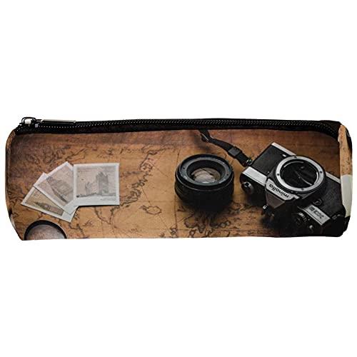 Vintage Old World Map Foto-Kameras Notebook Lupe Stifttasche Stifteetui Stifteetui Stifttasche Schreibtisch-Organizer Make-up Kosmetiktasche für Schule Büro