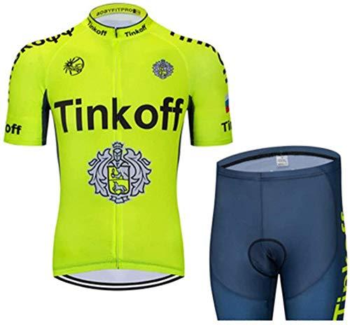 LIMQ Maglia Manica Corta En Jersey Di Bici Manica Corta + Pantaloncini Ciclista con Jersey Imbottito,D-XL