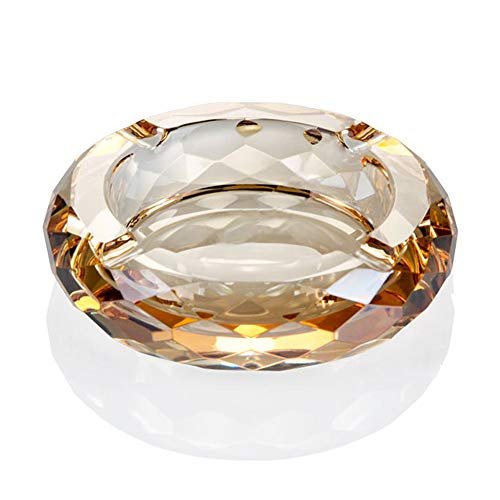 Crystal Glass Ashtray, Cigar Cigarettes Ashtray Holder Home Office Desktop Tabletop Decoration,Crystal Gold