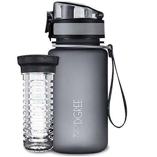 """720°DGREE Kinder Trinkflasche """"uberBottle"""" softTouch +Früchtebehälter 350ml - Auslaufsicher, BPA-Frei - Für Schule, Kindergarten, Mädchen & Jungs ab 3 Jahre - Kleine Wasserflasche, Leicht, Nachhaltig"""