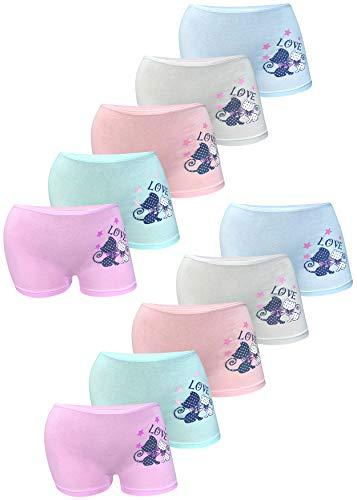 LOREZA ® 10er Set Mädchen Pantys Hipster Baumwolle (140-146, Modell 2 - 10er Set)