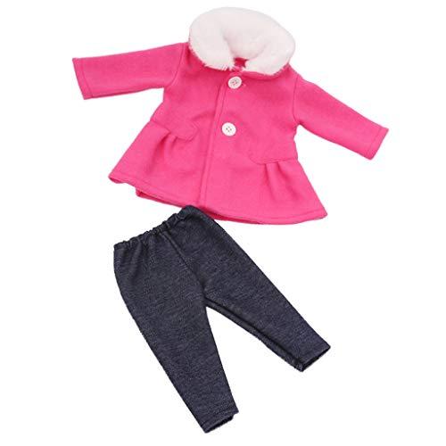 2er-Set Puppenkleidung Puppenmantel Wollmantel mit Hose Outfit für 18 Zoll amerikanische Puppen - Rosa