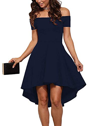 Sarin Mathews Womens Off The Shoulder Short Sleeve High Low Cocktail Skater Dress Blue XS