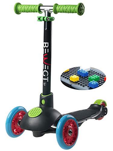 BEWEGT zum Spielen 3-Rollen Roller Kleinkind Dreirad Kinder Kick Scooter mit 50 Klemmbausteinen faltbar Lenker höhenverstellbar Leuchtrollen ab 2 Jahre