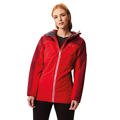 Regatta Whitlow Stretch Waterproof and Breathable Wind Resistant Hooded Jacket Femme, Red Alert/Tibetan Red, 36