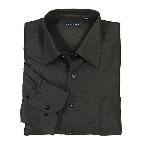 Lavecchia HLA1314-01 Übergröße Herren lg. Arm Hemd Schwarz-Uni Gr. 3-7XL, Größe:4XL