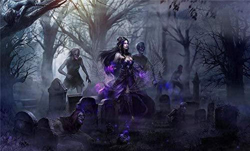 PQGHJ Rompecabezas de Halloween para Adultos 1000 Piezas Diversión para niños Juguetes educativos Regalos Chica gótica Horror de Halloween