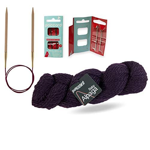 Pack de 1 madeja de lana Baby Alpaga 100 g + 1 par de agujas circulares Knit Pro + 1 bolsa de 2 agujas de lana. Color morado.