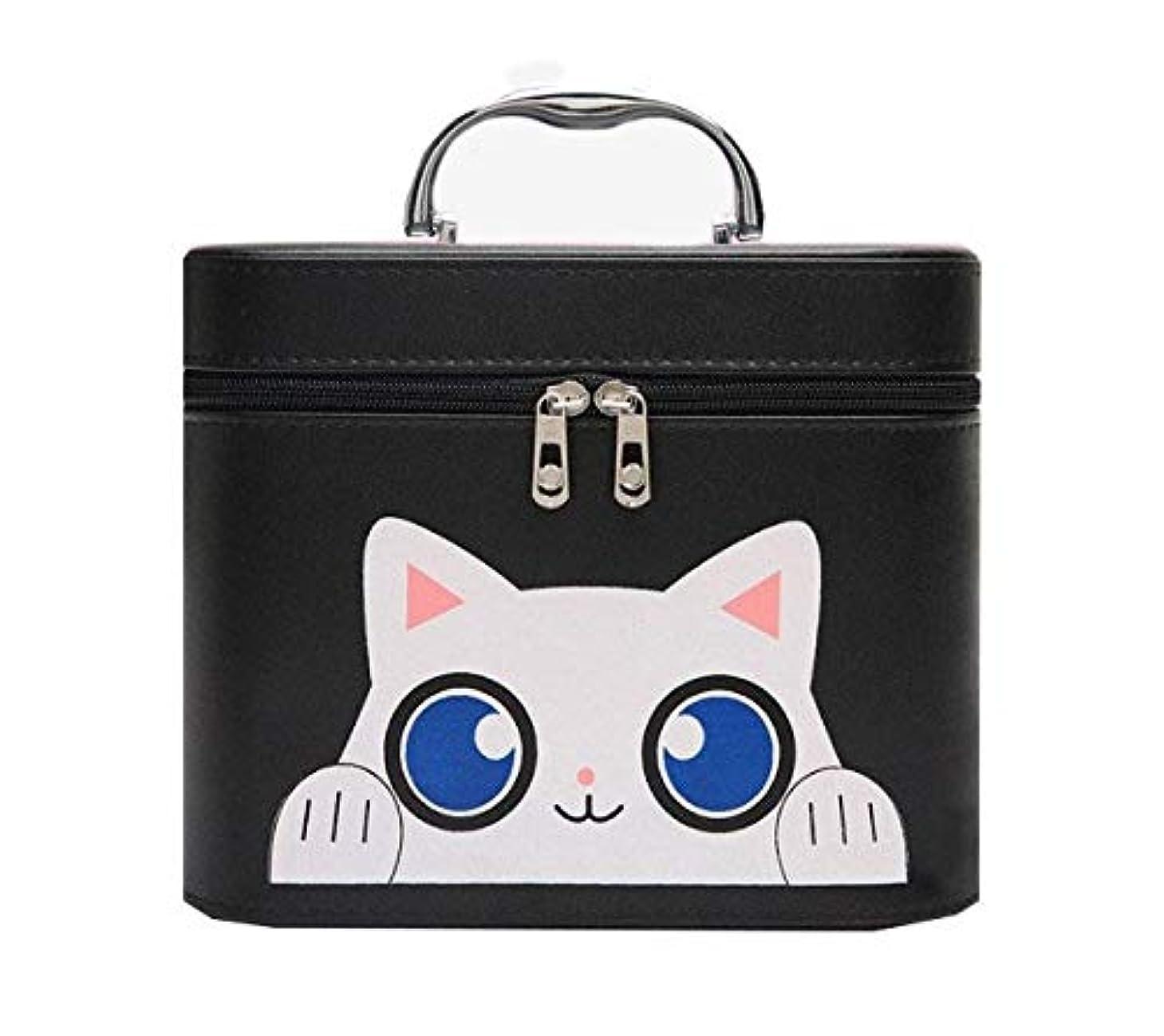 レンディション明快あえて化粧箱、黒漫画猫化粧品ケース、ポータブル旅行化粧品ケース、美容ネイルジュエリー収納ボックス (Size : L)