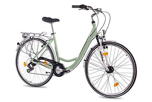CHRISSON 28 Zoll Damen City Bike - Relaxia 1.0 Mint grün - Damenfahrrad mit 6 Gang Shimano Tourney Kettenschaltung und Nabendynamo, Cityfahrrad mit Zoom Federgabel