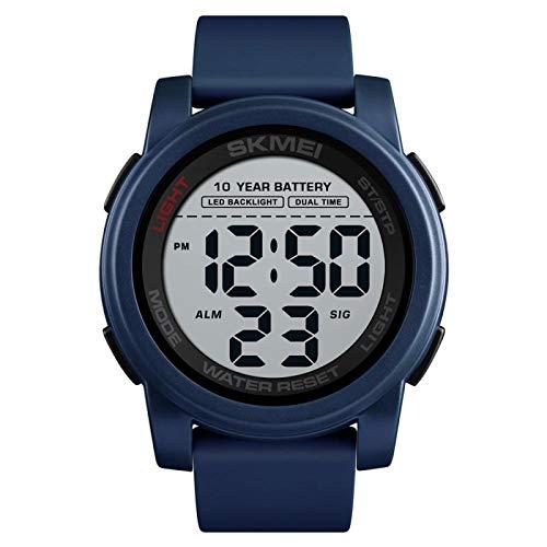 xiaoxioaguo Reloj digital con batería para hombre, con retroiluminación doble, deportivo, esfera grande, resistente al agua, silicona, reloj mecánico al aire libre