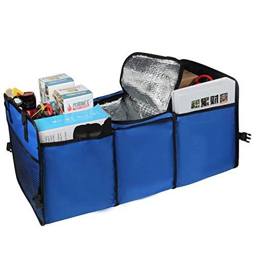 Phoetya - Bolsas para maletero de coche, multifunción, plegable, caja de almacenamiento de aislamiento de coche, 3 compartimentos grandes con mango de herramienta (azul)