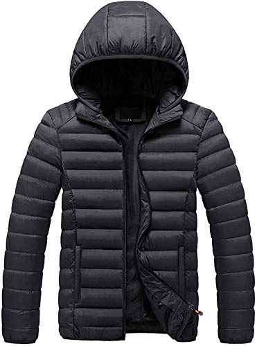 XIUSHANG Mens Hooded Packable Puffer Jacket Winter Down Coat for Men Quilted Active Jackets Coats Padded Outerwear Snowjacket