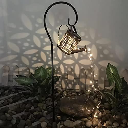 Luz de cascada hueca en forma de estrella para baño de metal con luz solar intermitente, regadera con rociador, luz LED para jardín Art Deco (regadera + soporte))