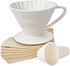 Kuissential Ceramic Coffee Dripper with 40 Filters and Coffee Scoop - Pour Over Coffee Dripper, Size 02- Easy Manual Coffee Brew Maker- Strong Brew Flavor- For Home, Office, Cafe, Restaurants