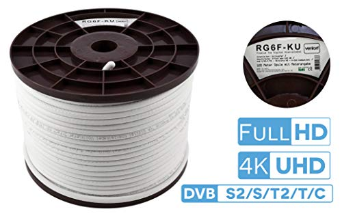 Koaxialkabel Venton 500m - Kupfer Innenleiter 140 dB max. – 5-fach Sat Kabel Fernsehkabel Antennenkabel Satellitenkabel - DVB-S2/C/T2/BK Anlagen tauglich - Satellitenschüssel digital komplett
