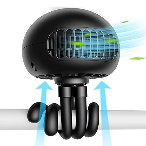 SmartDevil Ventilador de Cochecito,Asientos de automóvil con batería Ventilador con Clip Ventilador de Escritorio USB silencioso de 3 velocidades 60° Giratorio para Asiento de Coche o Tienda(Negro)