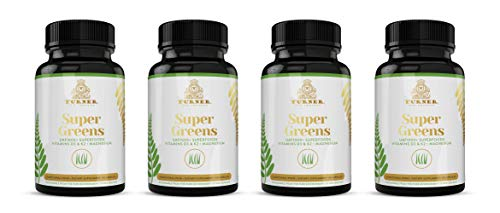 TURNER Super Greens, Wheat Grass Powder Supplement, All-Natural New Zealand Raw Green Superfood Energy, Essential Veggies, Antioxidants, Enzymes, Detox & Cleanse, Alkaline, 4 Bottles, 360 Capsules