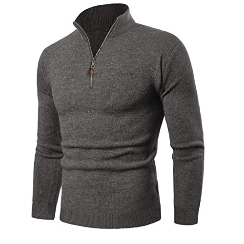 KEFITEVD Strickpullover Herren Stehkragen Turtleneck Pullover Regular Fit Casual Seemannspullover Freizeit Sweater Männer Strick Oberteil Unifarben Dunkelgrau L
