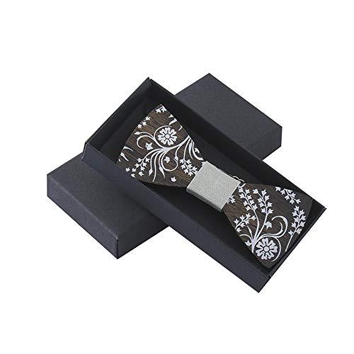 BESTSOON Corbata de Lazo de Madera Hecha a Mano con Forma de Regalo pa