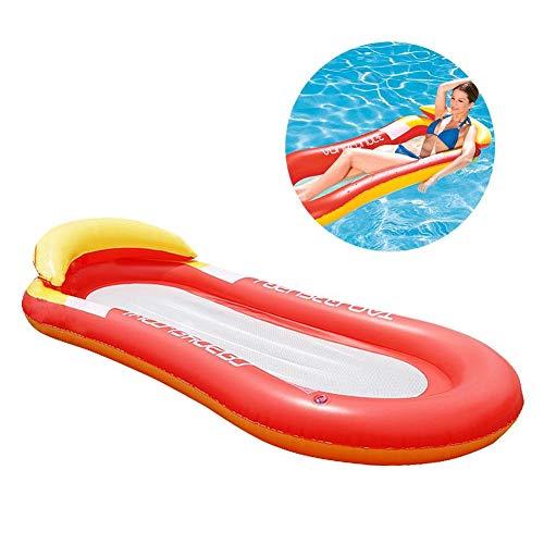 Tofree Floating Lounge Stuhl mit Mesh Unten aufblasbare Schwimmende Wasser Bett Strandmatte (rot)