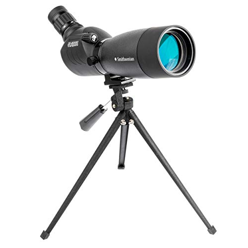Smithsonian Bird Watching Spotting Scope with Tripod for Adults – Spotting Scope Set w/ 20-60x60 Spotting Scope for Bird Watching, Hiking, Travel – Waterproof Scope– Bird-Watching Guide Included