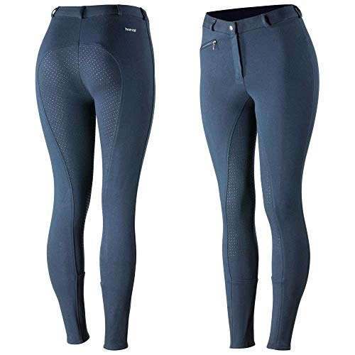 HORZE Pantalones de Montar Active para Mujer con Asiento Completo de Silicona, Bolsillos con Cremallera y bajo elástico, Todas Las Tallas, Azul, 38