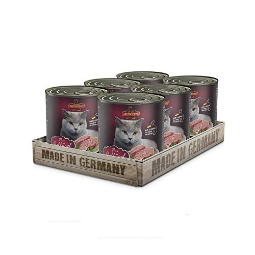 Leonardo Nassfutter [6x800g Geflügel pur] | Getreidefreies Nassfutter für Katzen | Feuchtfutter Alleinfutter aus der Dose