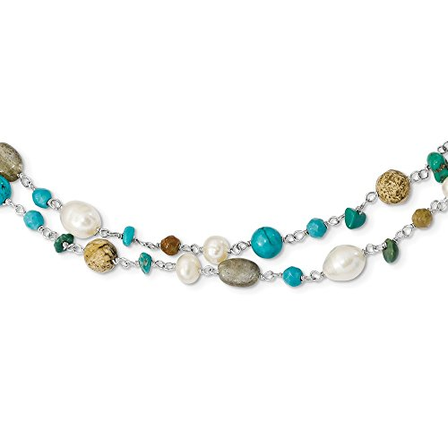 Sterling Silver Fresh Water Pearl/Labradorite/Jasper/Reconstructed Magnesite/Turquoise/Unikite Necklace - 56.5 Inch