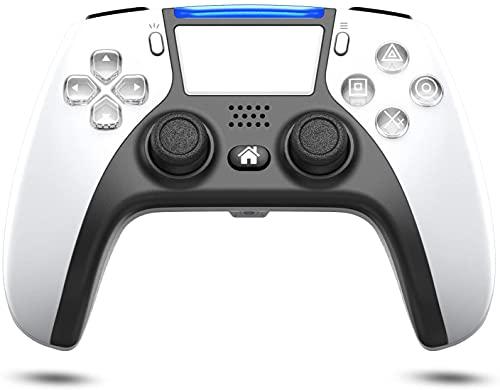 PS4 コントローラー ワイヤレス 最新改良背面ボタン搭載 1000mAHバッテリー Bluetooth接続 二重振動 ジャイロセンサー機能 イヤホンジャック タッチパッドやビルトインスピーカー搭載 ゲームパット(ホワイト)