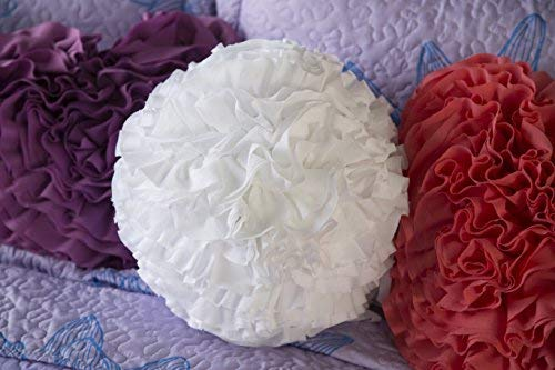 "North End Decor Hanging Ruffled Ball, White Throw Pillows, 12""x12"" Round Stuffed"