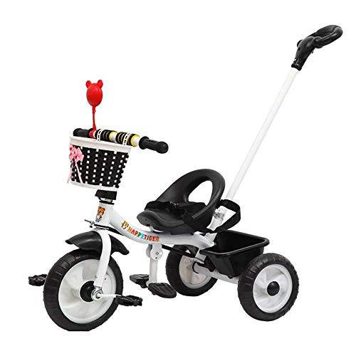 CAIMEI Triciclo infantil con mango para padres, 3 ruedas, color negro