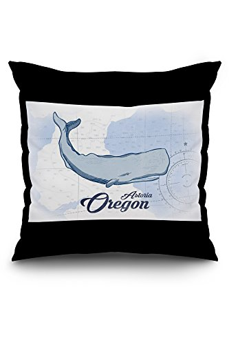 Astoria, Oregon - Whale - Blue - Coastal Icon (20x20 Spun Polyester Pillow Case, White Border)