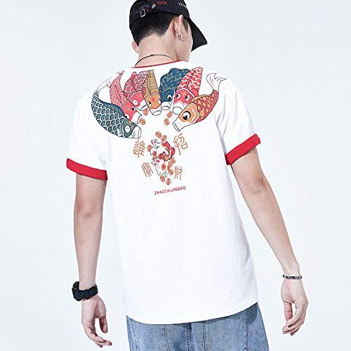 HUITAILANG Camisetas Hombre Novedad Top Gráfico, Estampado De Carpa De La Suerte Vintage Blanco Japonés, Algodón Comfort Soft Unisex tee, Cuello Redondo Personalidad Hip Hop Moda Casual, 2X, Large