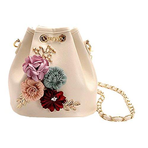 AiSi Damen Mädchen 3D Blumen Design Leder Umhängetasche Beuteltasche Tasche, Handtasche mit Kordelzug, Ledertasche mit Schulterriemen Beige