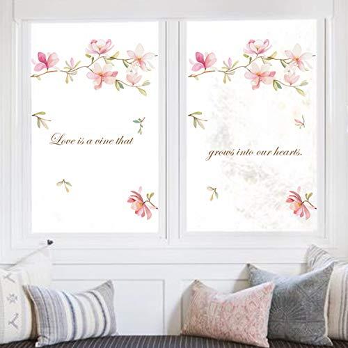 decalmile Wandtattoo Rosa Blume Wandaufkleber Magnolie Wandsticker Kinderzimmer Mädchen Schlafzimmer Wohnzimmer TV Wand Tür Wanddeko