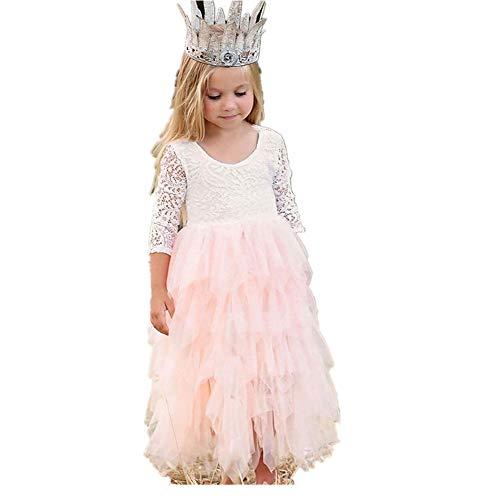 YMKT Vestido de Niña de Las Flores Vestido de Encaje para La Boda Vestido Blanco Lindo de Fiesta de Manga Larga de Vacaciones Regalo del Día de Los Niños para Baile de Graduación