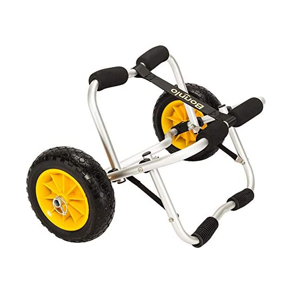 "Bonnlo CART-Canoe Kayak Boat Carrier Tote Trolley Transport with 2 Ratchet Straps PU Solid Tires Wheel Yellow 1 DURABLE: No noise. Aluminum Pipe (22mm x 2mm) & PU Tire (10""D x 3-1/4""W) construction ensures longevity while also keeping the carrying weight Capacity(165Lbs) LARGE SOLID TIRES DESIGN: No bad smell; Allows for smooth movement across rough surfaces such as sand, gravel, and through wooded areas CONVENIENT TO STORAGE & INSTALL: It is foldable, easy for storage; Install it easier, no tool required"