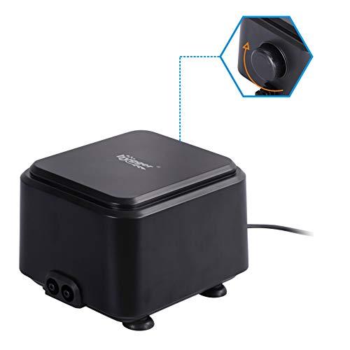hygger Small Quietest Aquarium Air Pump, Adjustable Oxygen Pump 2 Air Outlets Ultra Silent Powerful Aerator Pump 160GPH 5W