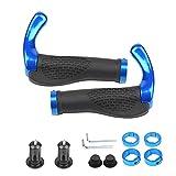 Flintronic Puños de Manillar de Bicicleta, 22 mm Manillar de Bicicleta Antideslizante, 2 Diseños (Extremos de Barra Cuernos + Básicos),para Ciclismo Bicicleta de montaña / MTB / BMX, Azul