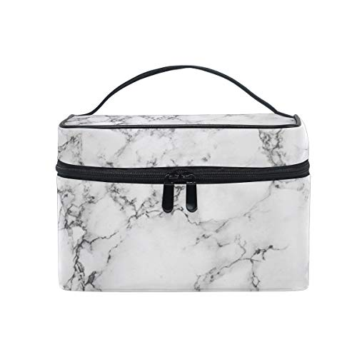 AUUXVA Makeup Bag, Geometric Marble Texture Pattern Portable Travel Case Large Print Cosmetic Bag Organizer Compartments for Girls Women Lady