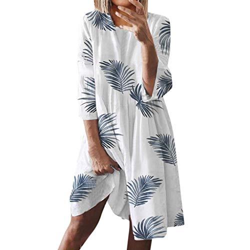 Tomwell Sommerkleid Damen Boho Kleider Casual A-Linie Rundhals 3/4-Arm T-Shirt Kleider Elegant Knielang Blumen Strand Kleider Lose Tunika A Weiß 46